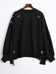 Pullover Lace Up Loose Sweatshirt - Black L