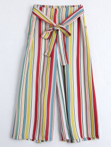 Self Tie Striped Capri Gaucho Pants - Stripe S
