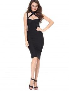 Cut Out Back Slit Fitted Dress - Black L