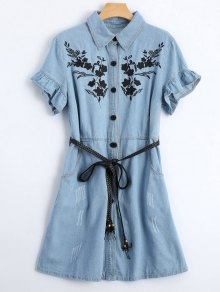 Floral Patched Ruffled Belted Denim Dress - Light Blue S