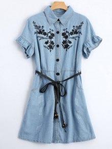 Floral Patched Ruffled Belted Denim Dress - Light Blue Xl