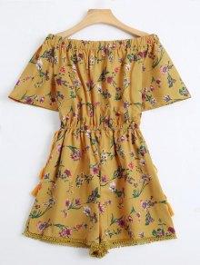 De La Impresión Floral Del Cordón Del Hombro - Amarillo M