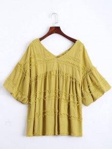 V Neck Lantern Sleeve Plain Blouse - Ginger S