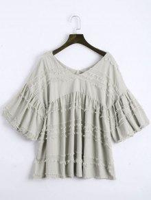 V Neck Lantern Sleeve Plain Blouse - Gray S