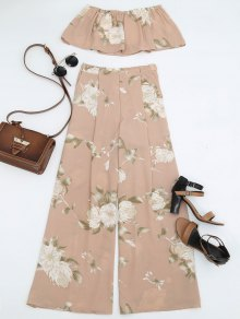 Smocked Tube Top And Slit Floral Wide Leg Pants - Floral S