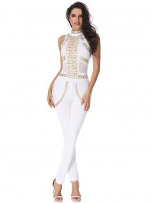 Rivet Embellished Mesh Panel Jumpsuit - White L