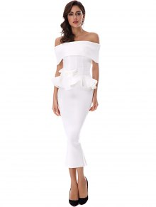 Ruffles Belted Top And Slit Skirt Set - White S