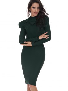 Bowknot Embellished Long Sleeve Fitted Dress - Blackish Green S