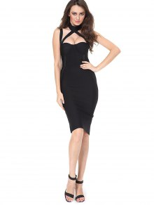 Cut Out Back Slit Fitted Dress - Black L