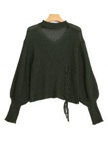 Sheer Lace Up Choker Knitwear - Army Green