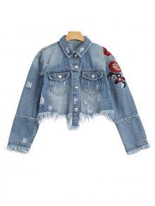 Ripped Cutoffs Floral Embroidered Denim Jacket - Denim Blue S