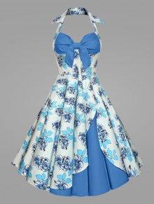 فستان الحجم الكبير طباعة الرسن كلاسيكي الحفلة - أزرق Xl