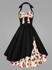 فستان الحجم الكبير رسن طباعة الكرز - أسود Xl