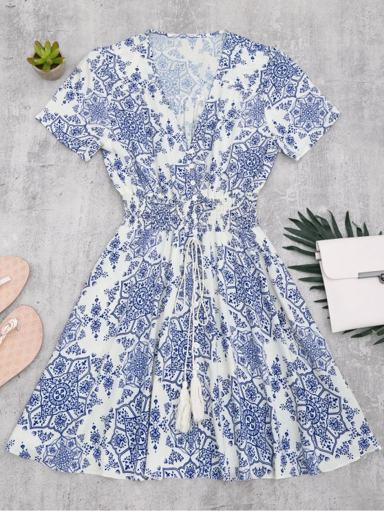 unique Smocked Panel Button Up A Line Dress - BLUE AND WHITE S