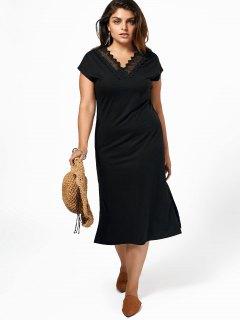 Plus Size Lace Trim Slit Midi Dress - Black 5xl