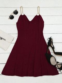 Robe Tissée à Bretelles Métalliques Anneaux Décoratifs - Rouge Vineux