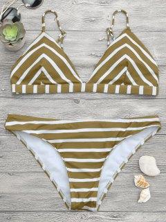 Chevron Striped Cami Bikini Set - White And Brown L