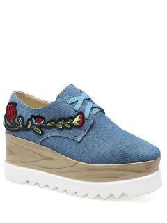 Denim Square Toe Embroidery Wedge Shoes - Denim Blue 38