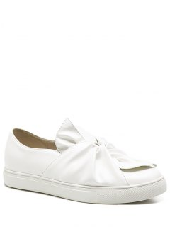 Bow Round Toe Faux Leather Flat Shoes - White 38