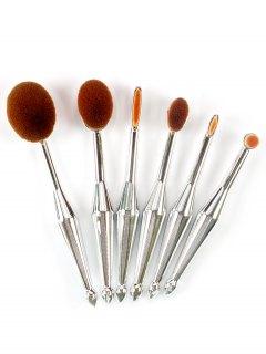 6Pcs Toothbrush Design Makeup Brushes Kit - Silver