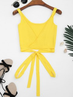 Knitted Wrap Crop Tank Top - Yellow S