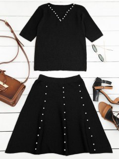 Knitted Beading Top And A Line Mini Skirt - Black