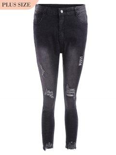 Cutoffs Ripped Plus Size Jeans - Black 4xl