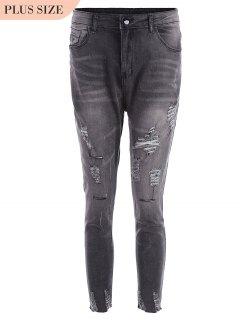 Plus Size Destroyed Cutoffs Jeans - Black 3xl