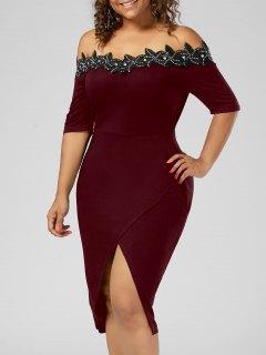 Plus Size Applique Trim Pencil Dress - Wine Red 3xl
