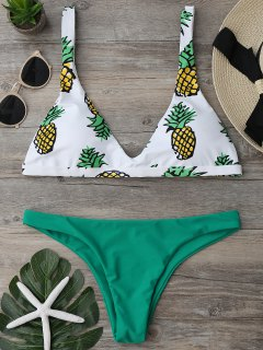 High Cut Pineapple Print Bikini Set - Green M