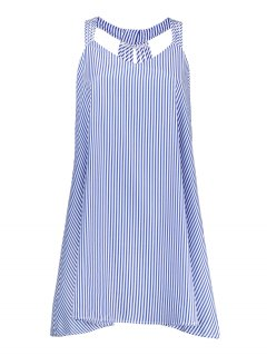 Plus Size Striped Strappy Flare Dress - Blue 2xl