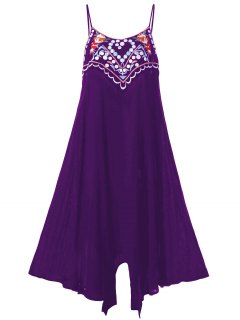 Plus Size Embroidery Slip Summer Dress - Purple 3xl