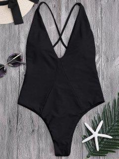 High Cut Cross Back Swimwear - Black M