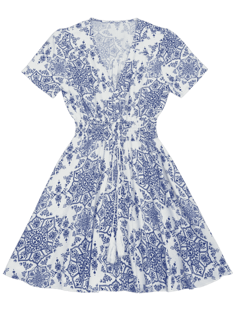 unique Smocked Panel Button Up A Line Dress - BLUE AND WHITE S Mobile
