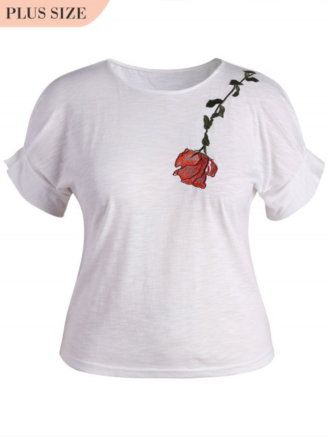 shop Draped Sleeve Plus Size Floral Embroidered  Top - WHITE 2XL Mobile