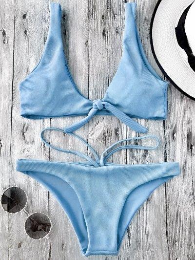 Juego De Bikini Con Cuchara Texturizada Anudada - Azul Claro S