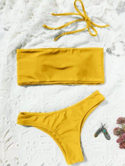 Bañador De Tanga De Alta Costura - Amarillo S