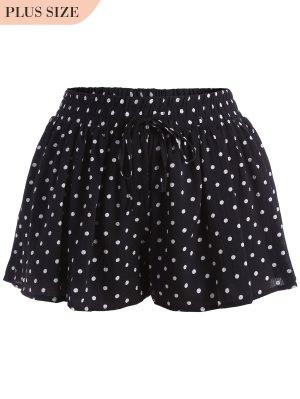 Elastic Waist Plus Size Polka Dot Shorts