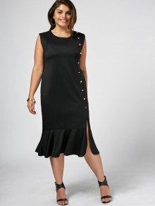 Slit Button Up Mermaid Plus Size Dress - Black 4xl