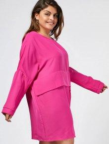 Keyhole Plus Size Layered Casual Dress - Sangria 3xl