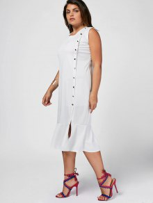 Slit Button Up Mermaid Plus Size Dress - White 3xl
