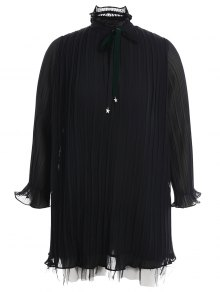 Plus Size Bow Tie Ruffles Dress - Black 3xl