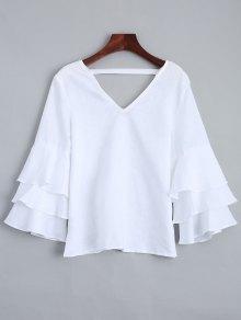 Tiered Sleeve V Neck Linen Blouse - White M