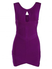 Sleeveless Cut Out Bodycon Bandage Dress - Purplish Red L