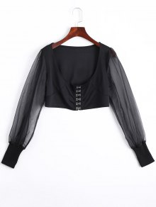 U Neck Organza Panel Crop Jacket - Black S