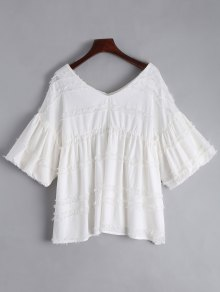 V Neck Lantern Sleeve Plain Blouse - White Xl