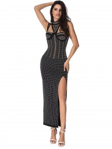 Beaded Embellished Cut Out Slit Dress - Black L