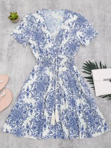Smocked Panel Button Up A Line Dress - Blue And White Xl