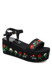 Denim Embroidery Platform Sandals - Black 37