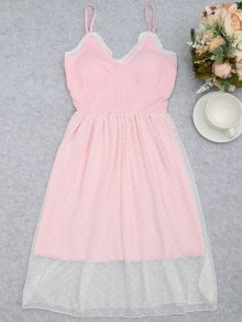 Mesh Padded Smocked Cami Sleep Dress - Pink M